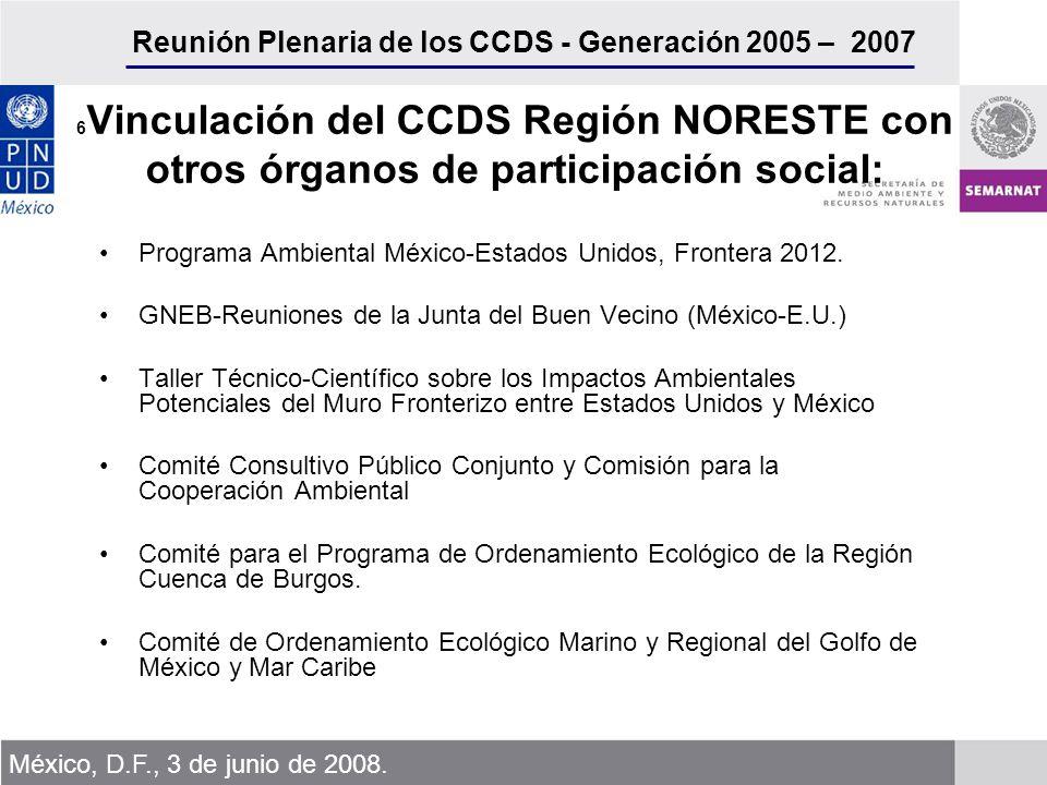 Reunión Plenaria de los CCDS - Generación 2005 – 2007 México, D.F., 3 de junio de 2008.