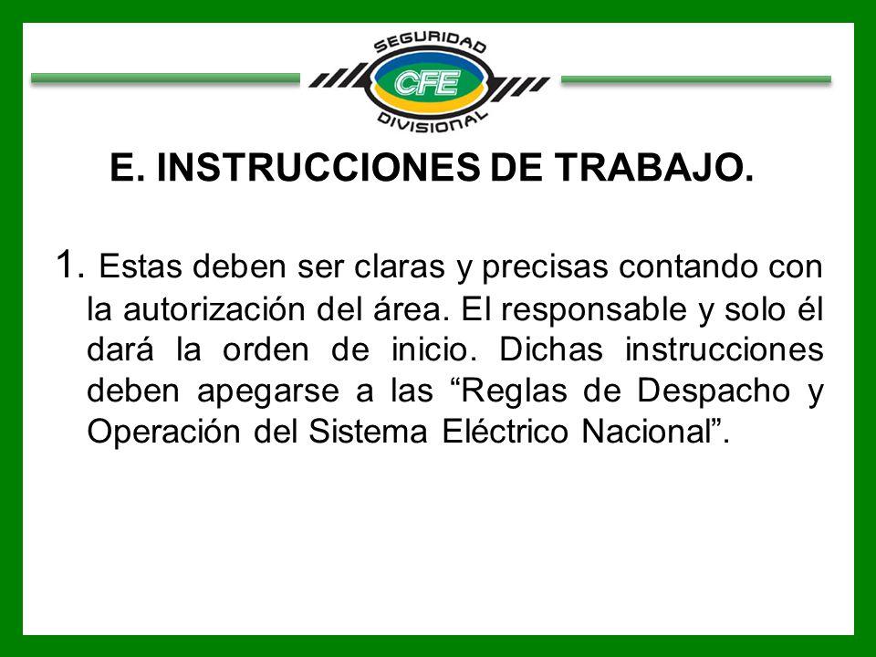 E.INSTRUCCIONES DE TRABAJO. 1.