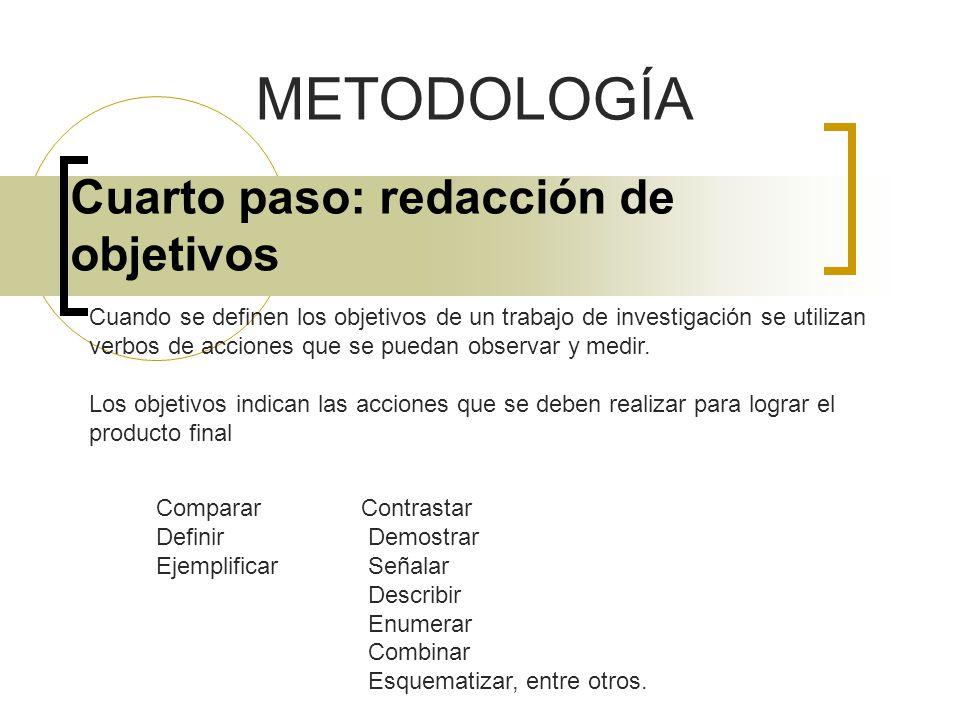 Cuarto paso: redacción de objetivos METODOLOGÍA Cuando se definen los objetivos de un trabajo de investigación se utilizan verbos de acciones que se p