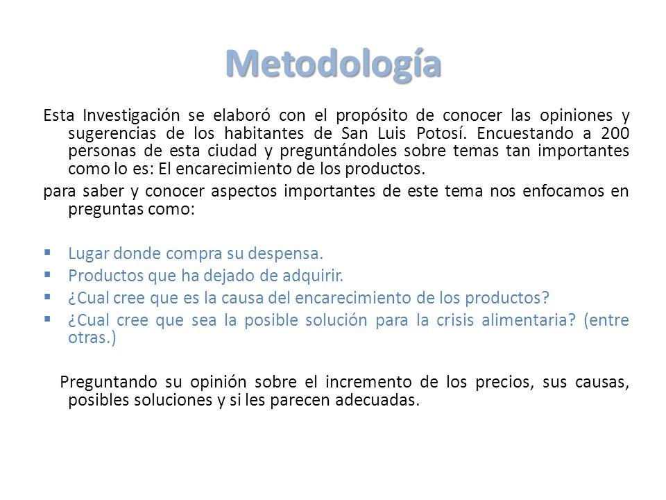 Metodología Esta Investigación se elaboró con el propósito de conocer las opiniones y sugerencias de los habitantes de San Luis Potosí. Encuestando a