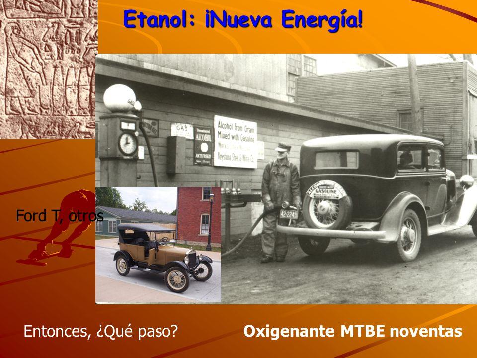 Etanol: ¡Nueva Energía! Oxigenante MTBE noventas Ford T, otros Entonces, ¿Qué paso?