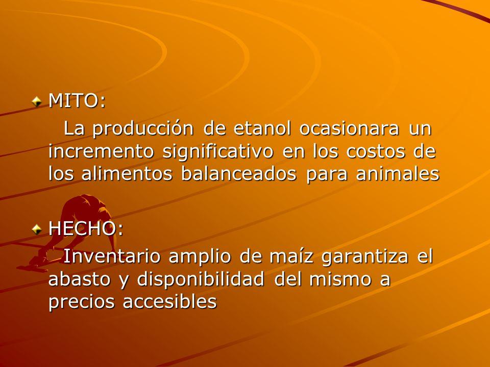 MITO: La producción de etanol ocasionara un incremento significativo en los costos de los alimentos balanceados para animales La producción de etanol