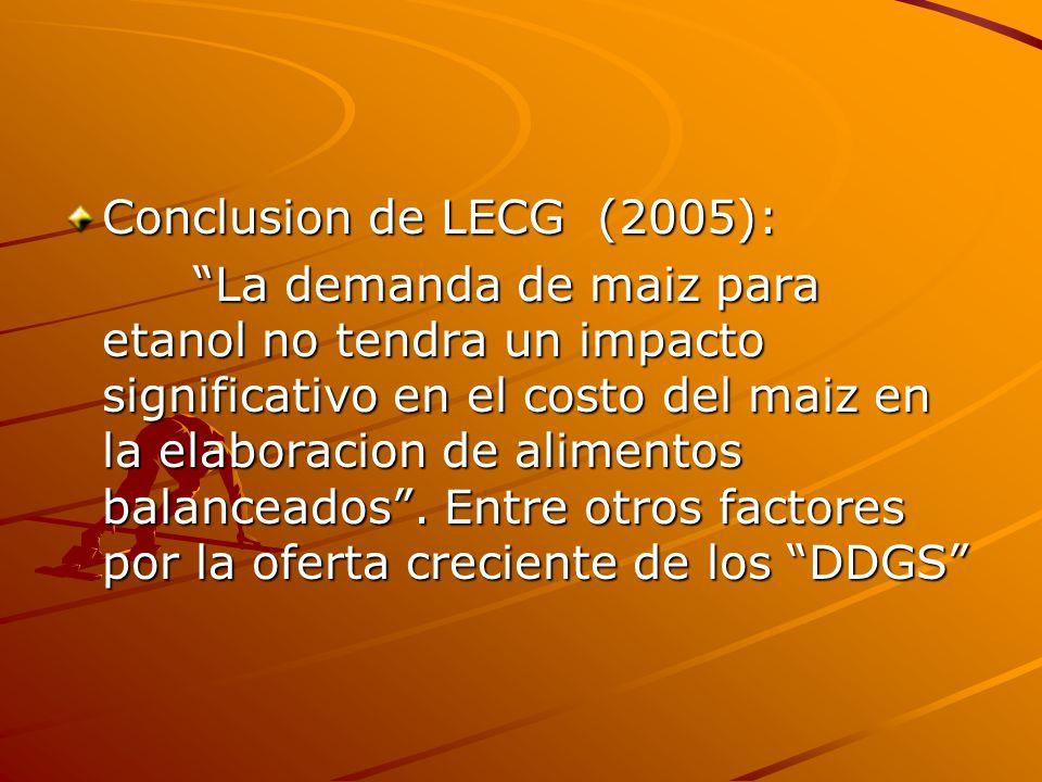 Conclusion de LECG (2005): La demanda de maiz para etanol no tendra un impacto significativo en el costo del maiz en la elaboracion de alimentos balan