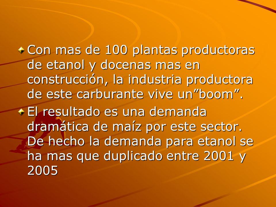 Con mas de 100 plantas productoras de etanol y docenas mas en construcción, la industria productora de este carburante vive unboom. El resultado es un