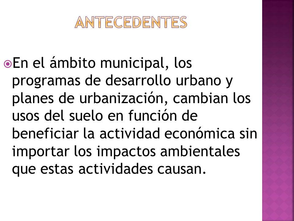 En el ámbito municipal, los programas de desarrollo urbano y planes de urbanización, cambian los usos del suelo en función de beneficiar la actividad