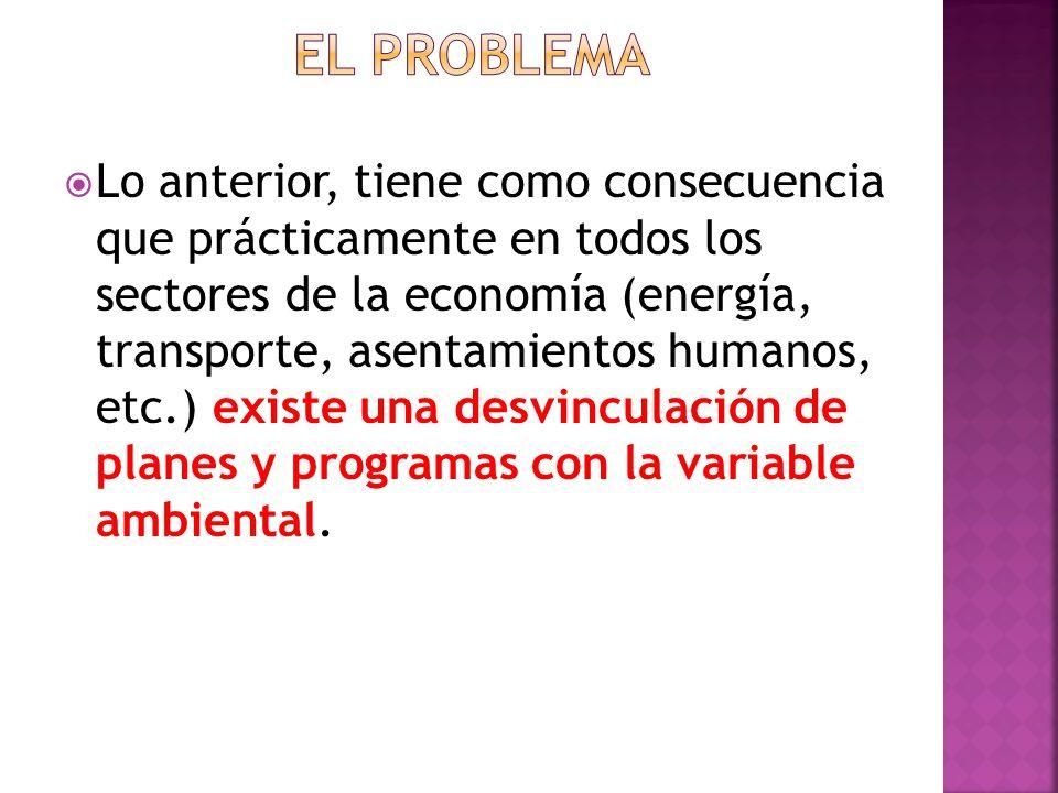 Lo anterior, tiene como consecuencia que prácticamente en todos los sectores de la economía (energía, transporte, asentamientos humanos, etc.) existe