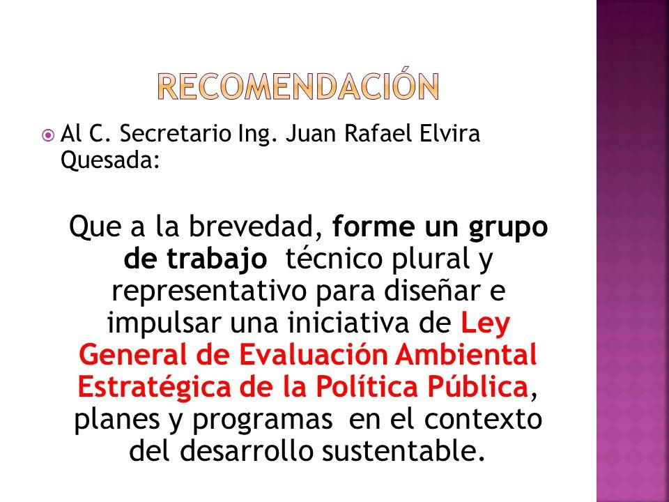Al C. Secretario Ing. Juan Rafael Elvira Quesada: Que a la brevedad, forme un grupo de trabajo técnico plural y representativo para diseñar e impulsar
