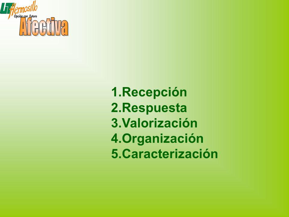1.Recepción 2.Respuesta 3.Valorización 4.Organización 5.Caracterización
