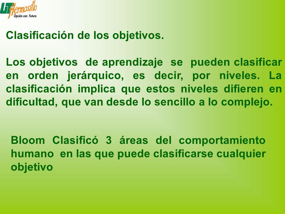 Clasificación de los objetivos. Los objetivos de aprendizaje se pueden clasificar en orden jerárquico, es decir, por niveles. La clasificación implica