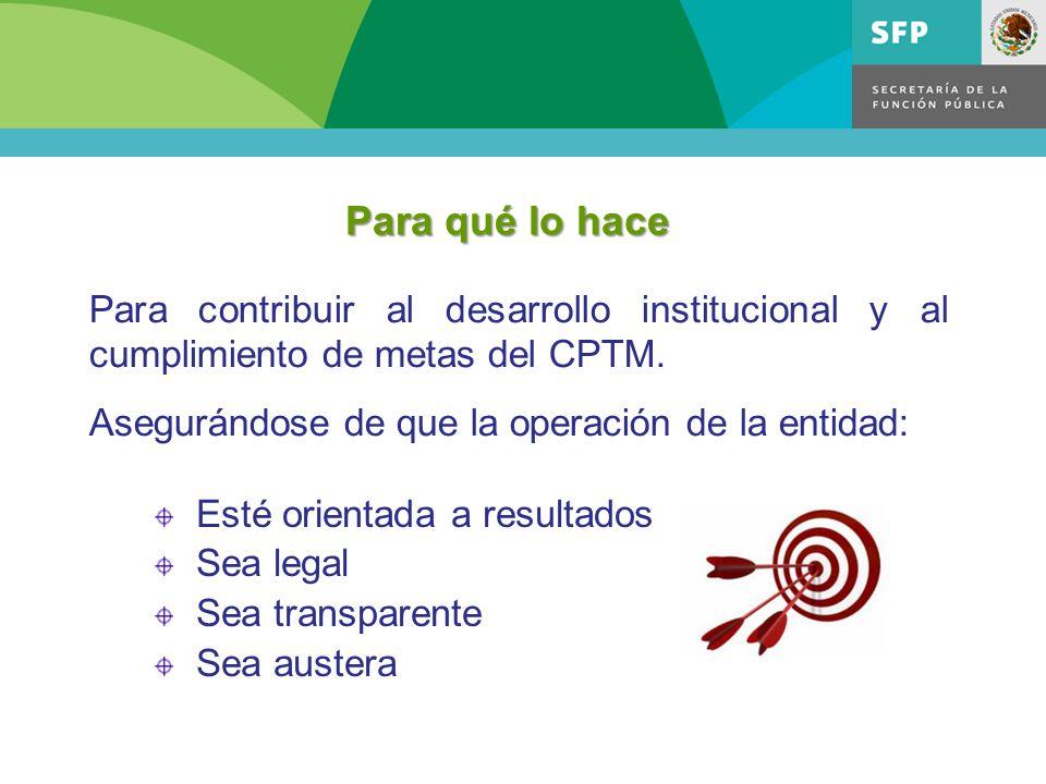 Para qué lo hace Esté orientada a resultados Sea legal Sea transparente Sea austera Para contribuir al desarrollo institucional y al cumplimiento de metas del CPTM.