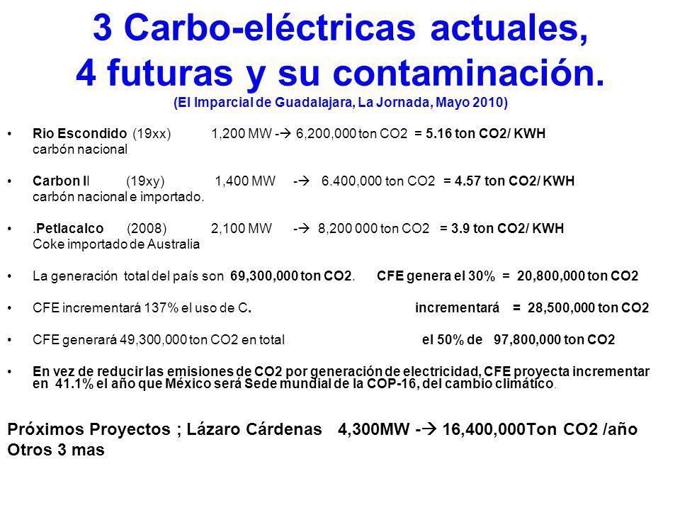 CFE retoma el camino de las Carbo- Eléctricas y de la Energía Nuclear ( El Imparcial de Guadalajara, La Jornada… Mayo 2010) (CFE) tiene previsto incre