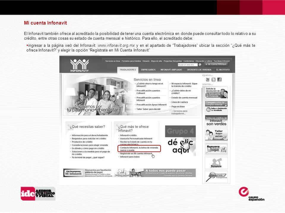 Mi cuenta Infonavit El Infonavit también ofrece al acreditado la posibilidad de tener una cuenta electrónica en donde puede consultar todo lo relativo a su crédito, entre otras cosas su estado de cuenta mensual e histórico.