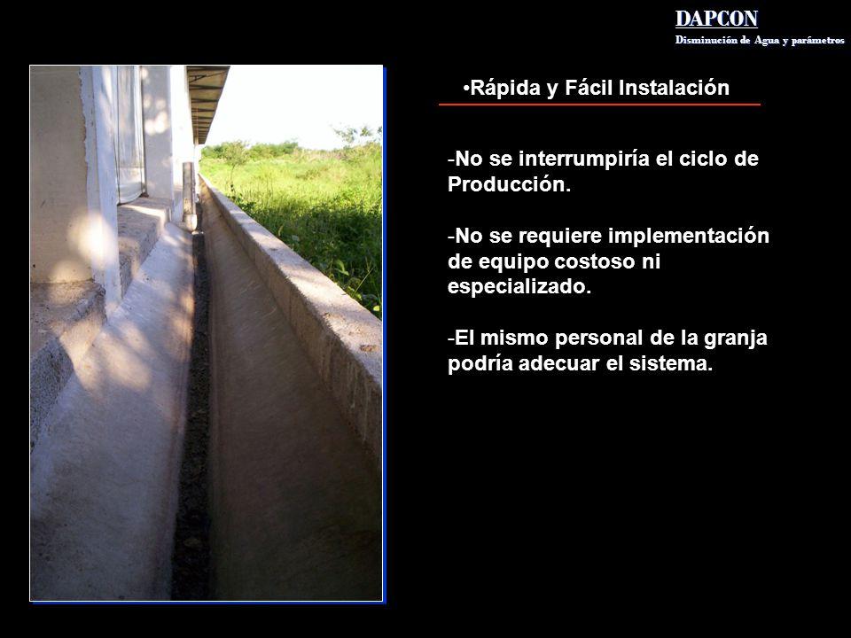 Rápida y Fácil Instalación DAPCON Disminución de Agua y parámetros DAPCON Disminución de Agua y parámetros -No se interrumpiría el ciclo de Producción