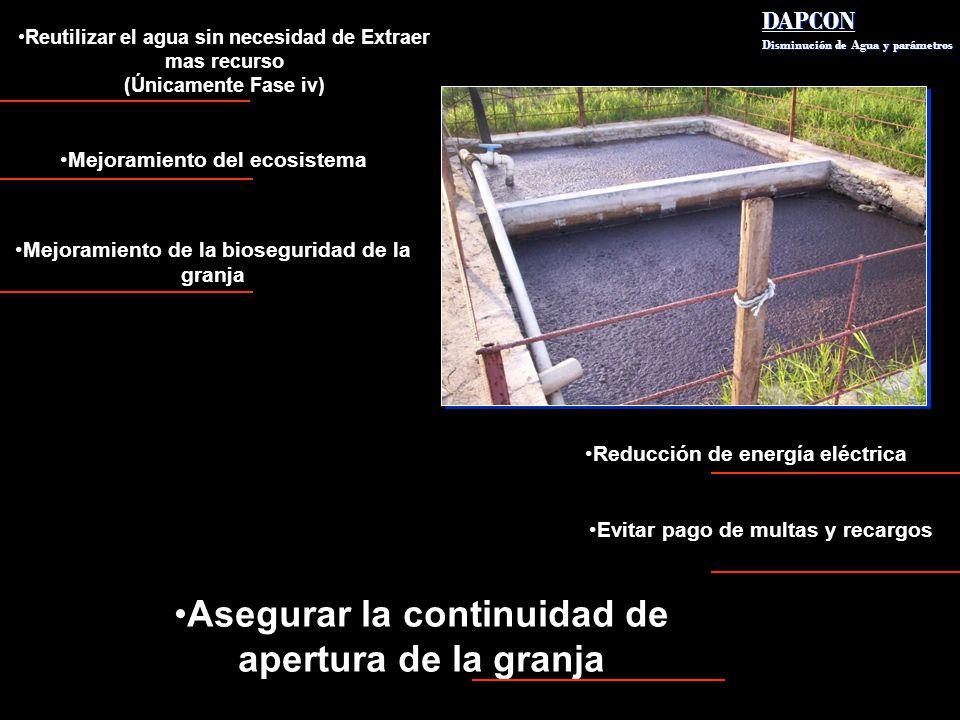DAPCON Disminución de Agua y parámetros DAPCON Disminución de Agua y parámetros Mejoramiento del ecosistema Mejoramiento de la bioseguridad de la gran