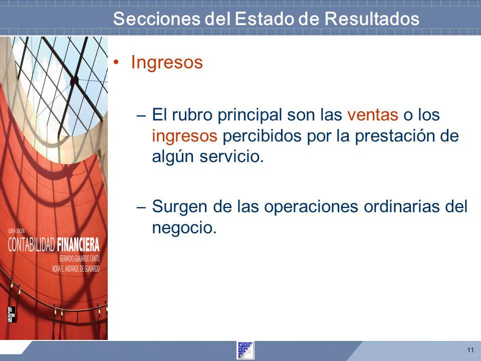 11 Secciones del Estado de Resultados Ingresos –El rubro principal son las ventas o los ingresos percibidos por la prestación de algún servicio. –Surg