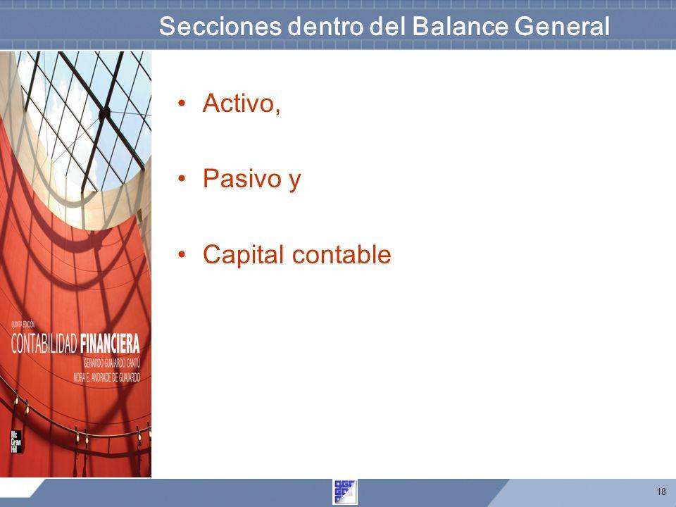 18 Secciones dentro del Balance General Activo, Pasivo y Capital contable