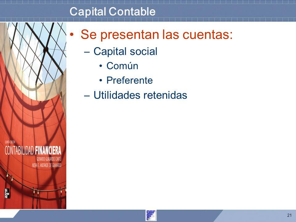 21 Capital Contable Se presentan las cuentas: –Capital social Común Preferente –Utilidades retenidas