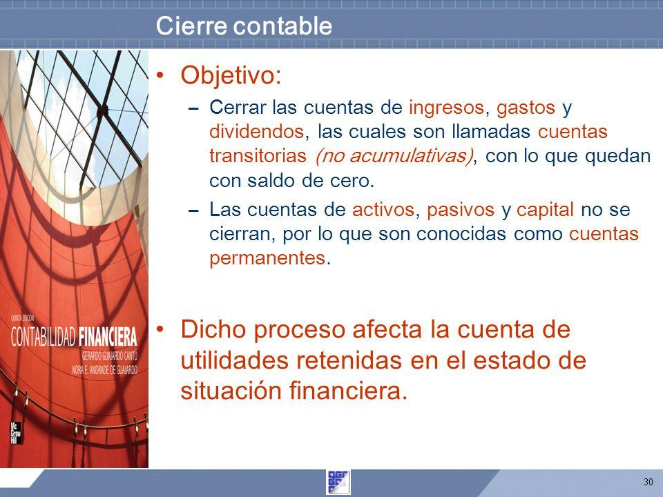30 Cierre contable Objetivo: –Cerrar las cuentas de ingresos, gastos y dividendos, las cuales son llamadas cuentas transitorias (no acumulativas), con