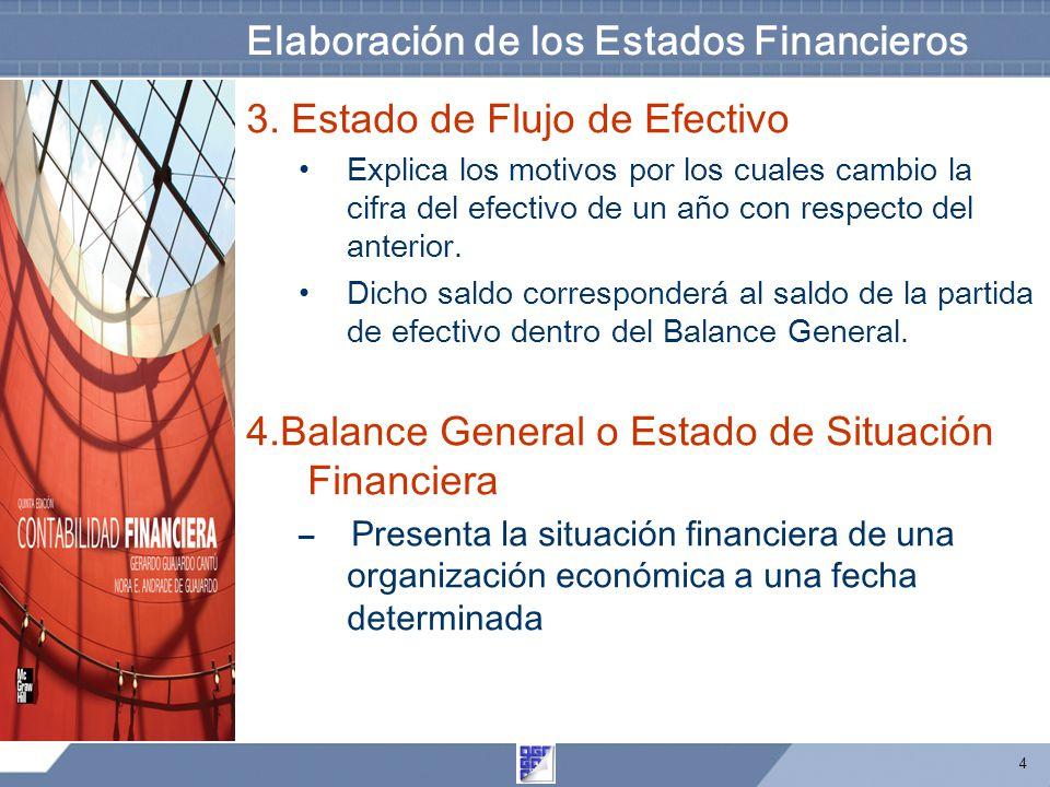 4 Elaboración de los Estados Financieros 3. Estado de Flujo de Efectivo Explica los motivos por los cuales cambio la cifra del efectivo de un año con