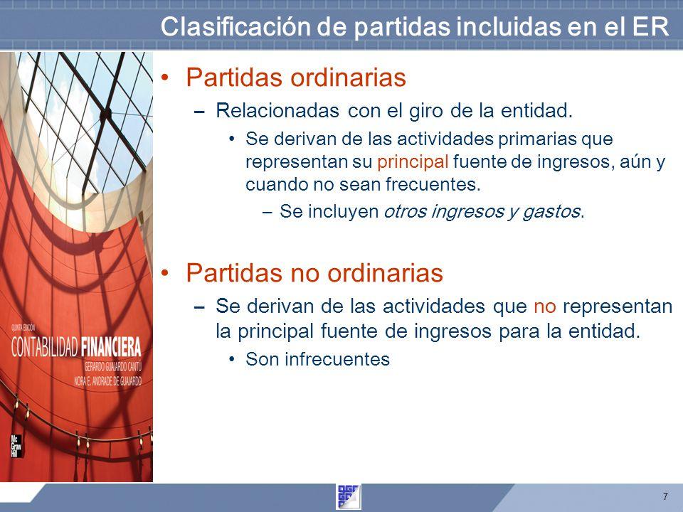 7 Clasificación de partidas incluidas en el ER Partidas ordinarias –Relacionadas con el giro de la entidad. Se derivan de las actividades primarias qu
