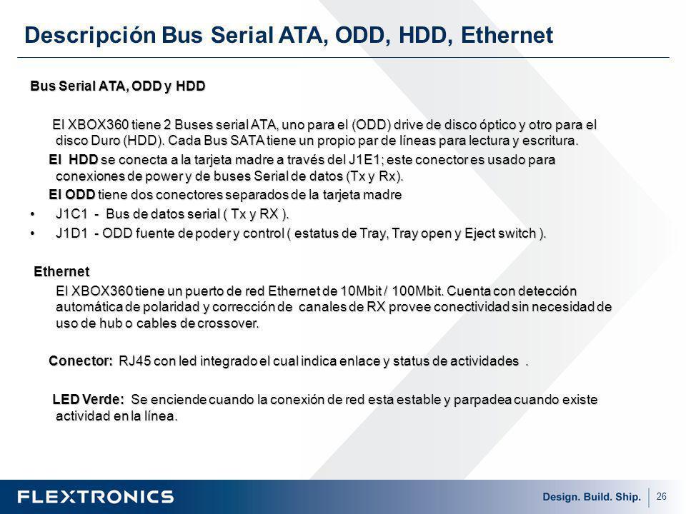 26 Bus Serial ATA, ODD y HDD El XBOX360 tiene 2 Buses serial ATA, uno para el (ODD) drive de disco óptico y otro para el disco Duro (HDD).
