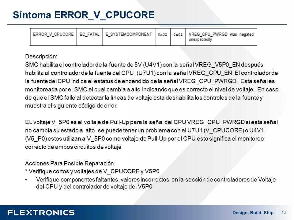 40 Síntoma ERROR_V_CPUCORE Descripción: SMC habilita el controlador de la fuente de 5V (U4V1) con la señal VREG_V5P0_EN después habilita al controlador de la fuente del CPU (U7U1) con la señal VREG_CPU_EN.