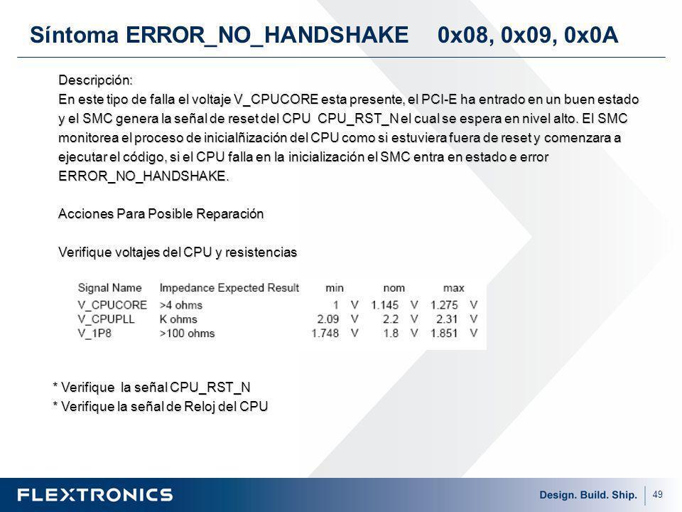 49 Síntoma ERROR_NO_HANDSHAKE 0x08, 0x09, 0x0A Descripción: En este tipo de falla el voltaje V_CPUCORE esta presente, el PCI-E ha entrado en un buen estado y el SMC genera la señal de reset del CPU CPU_RST_N el cual se espera en nivel alto.
