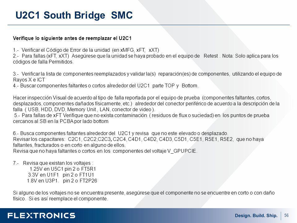 56 U2C1 South Bridge SMC Verifique lo siguiente antes de reemplazar el U2C1 1.- Verificar el Código de Error de la unidad (en xMFG, xFT, xXT) 2.- Para fallas (xFT, xXT) Asegúrese que la unidad se haya probado en el equipo de Retest.