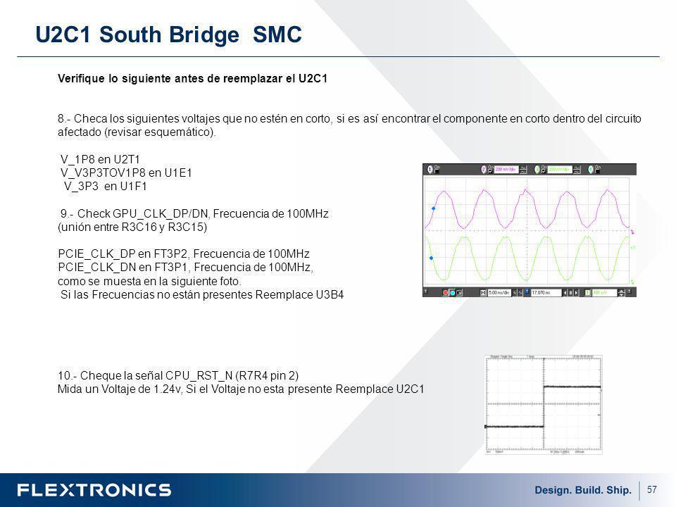 57 U2C1 South Bridge SMC Verifique lo siguiente antes de reemplazar el U2C1 8.- Checa los siguientes voltajes que no estén en corto, si es así encontrar el componente en corto dentro del circuito afectado (revisar esquemático).