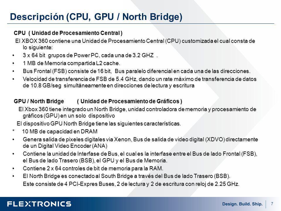 7 Descripción (CPU, GPU / North Bridge) CPU ( Unidad de Procesamiento Central ) CPU ( Unidad de Procesamiento Central ) El XBOX 360 contiene una Unidad de Procesamiento Central (CPU) customizada el cual consta de lo siguiente: El XBOX 360 contiene una Unidad de Procesamiento Central (CPU) customizada el cual consta de lo siguiente: 3 x 64 bit grupos de Power PC, cada una de 3.2 GHZ.3 x 64 bit grupos de Power PC, cada una de 3.2 GHZ.