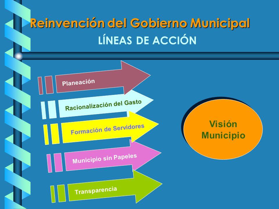 Visión Municipio LÍNEAS DE ACCIÓN Municipio sin Papeles Transparencia Racionalización del Gasto Formación de Servidores Reinvención del Gobierno Municipal Planeación