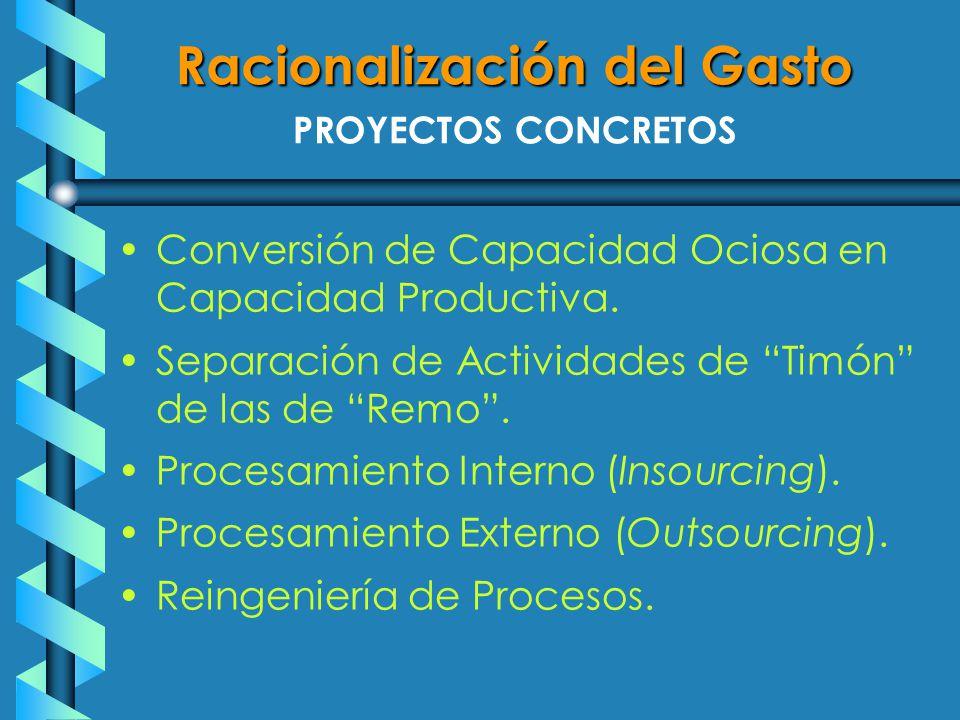 PROYECTOS CONCRETOS Conversión de Capacidad Ociosa en Capacidad Productiva.