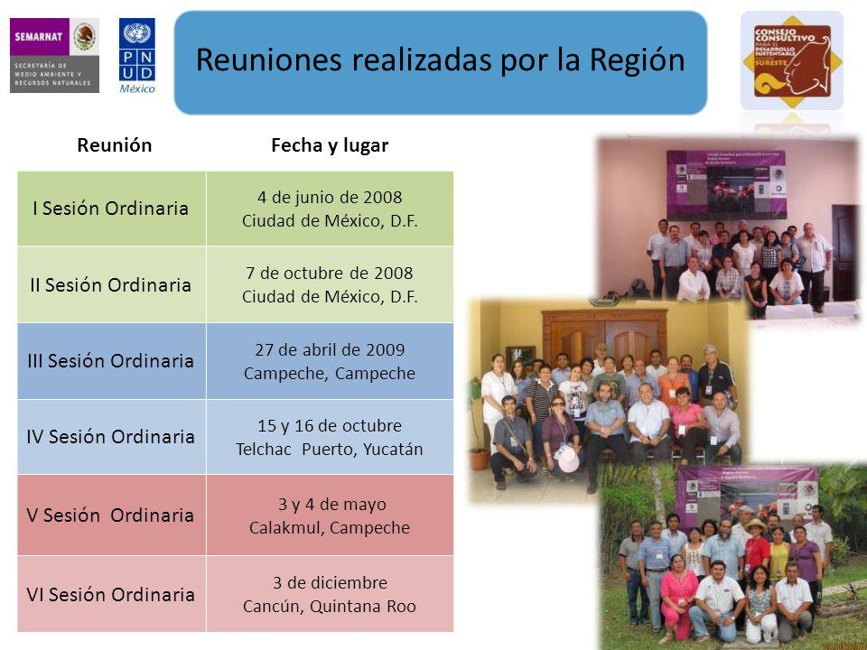 Reuniones realizadas por la Región ReuniónFecha y lugar I Sesión Ordinaria 4 de junio de 2008 Ciudad de México, D.F.