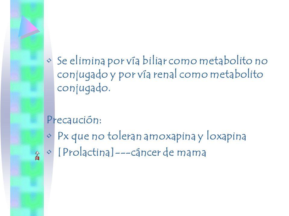 Se elimina por vía biliar como metabolito no conjugado y por vía renal como metabolito conjugado. Precaución: Px que no toleran amoxapina y loxapina [