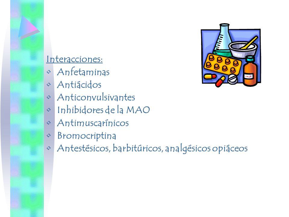 Interacciones: Anfetaminas Antiácidos Anticonvulsivantes Inhibidores de la MAO Antimuscarínicos Bromocriptina Antestésicos, barbitúricos, analgésicos