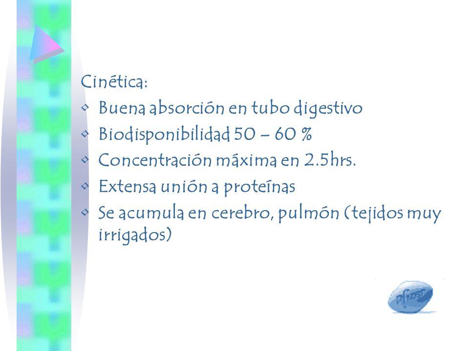 Cinética: Buena absorción en tubo digestivo Biodisponibilidad 50 – 60 % Concentración máxima en 2.5hrs. Extensa unión a proteínas Se acumula en cerebr