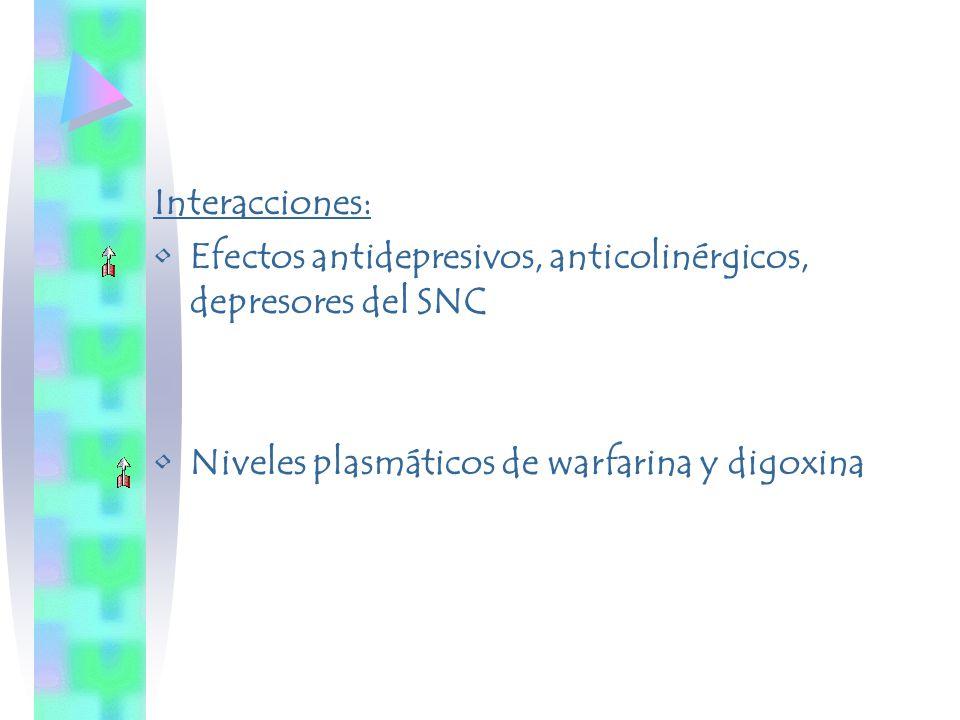 Interacciones: Efectos antidepresivos, anticolinérgicos, depresores del SNC Niveles plasmáticos de warfarina y digoxina