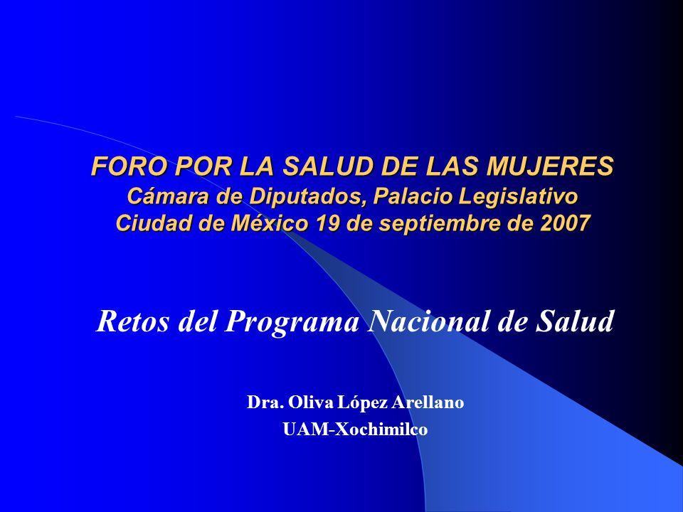 FORO POR LA SALUD DE LAS MUJERES Cámara de Diputados, Palacio Legislativo Ciudad de México 19 de septiembre de 2007 Retos del Programa Nacional de Salud Dra.