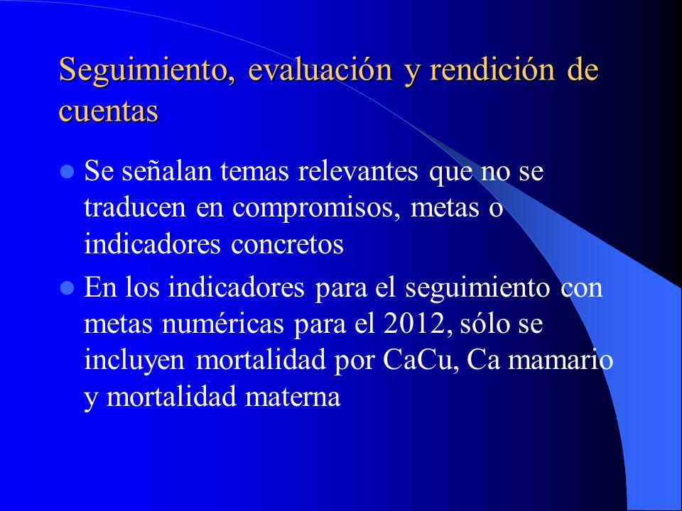 Seguimiento, evaluación y rendición de cuentas Se señalan temas relevantes que no se traducen en compromisos, metas o indicadores concretos En los indicadores para el seguimiento con metas numéricas para el 2012, sólo se incluyen mortalidad por CaCu, Ca mamario y mortalidad materna