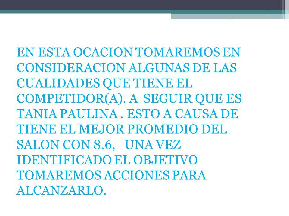 EN ESTA OCACION TOMAREMOS EN CONSIDERACION ALGUNAS DE LAS CUALIDADES QUE TIENE EL COMPETIDOR(A). A SEGUIR QUE ES TANIA PAULINA. ESTO A CAUSA DE TIENE