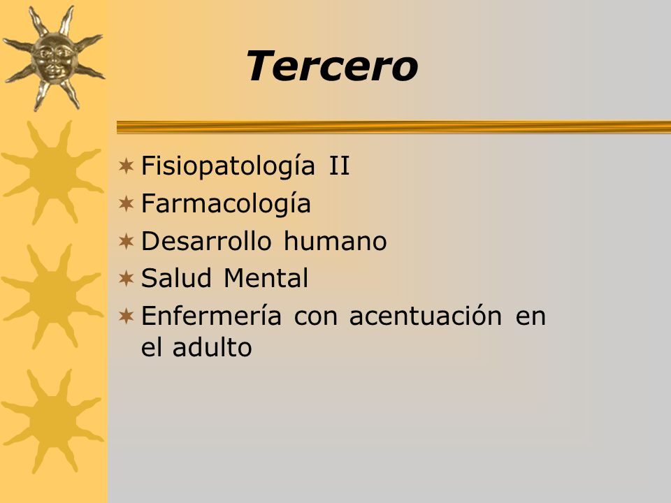 Tercero Fisiopatología II Farmacología Desarrollo humano Salud Mental Enfermería con acentuación en el adulto