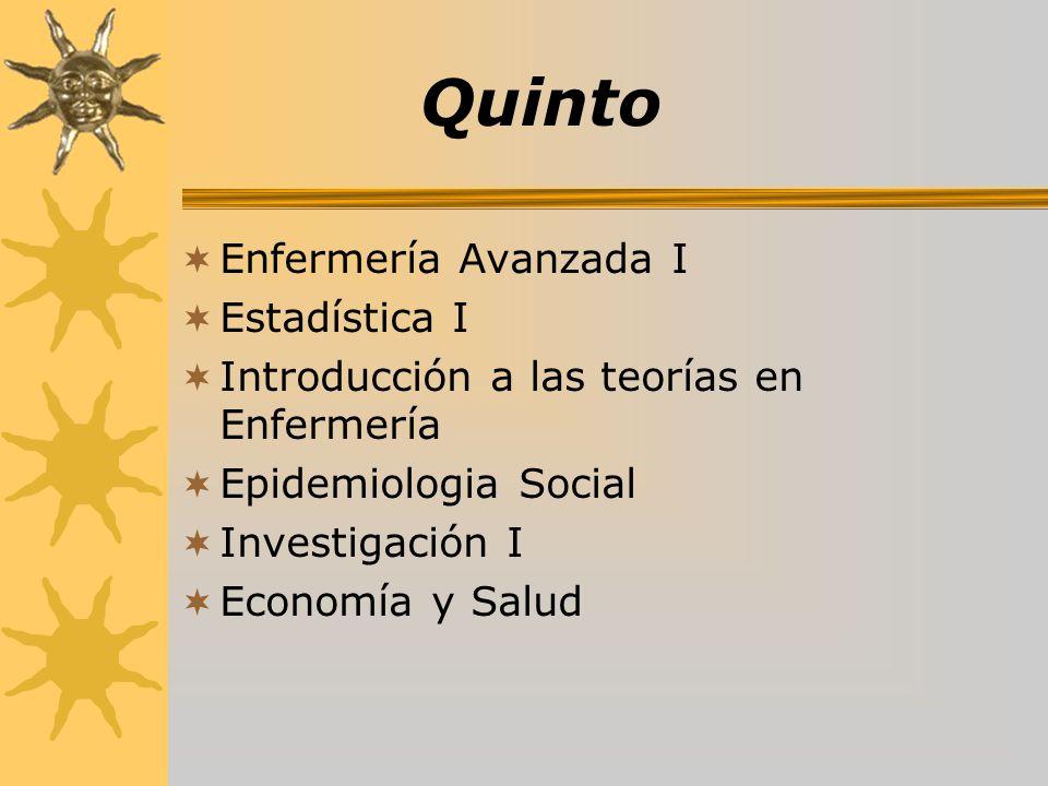 Quinto Enfermería Avanzada I Estadística I Introducción a las teorías en Enfermería Epidemiologia Social Investigación I Economía y Salud