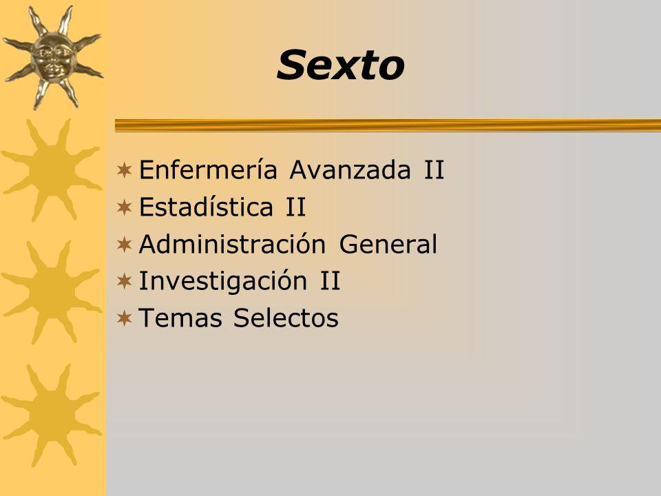 Sexto Enfermería Avanzada II Estadística II Administración General Investigación II Temas Selectos