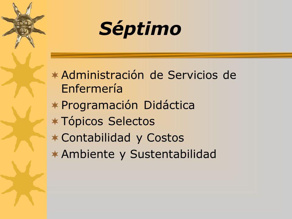 Séptimo Administración de Servicios de Enfermería Programación Didáctica Tópicos Selectos Contabilidad y Costos Ambiente y Sustentabilidad