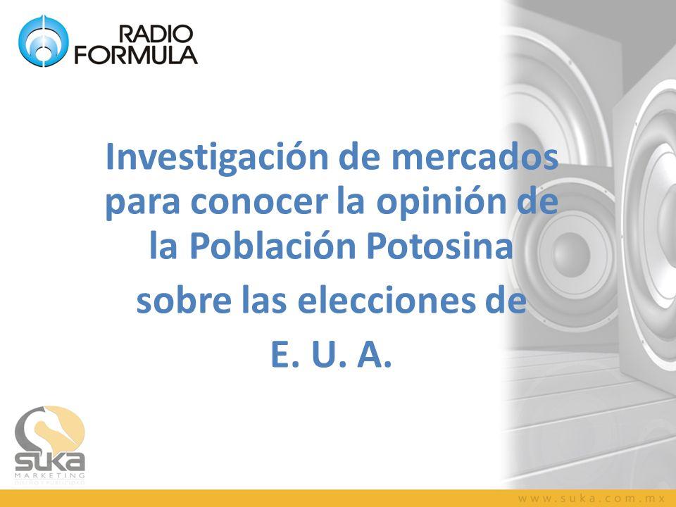 Investigación de mercados para conocer la opinión de la Población Potosina sobre las elecciones de E. U. A.