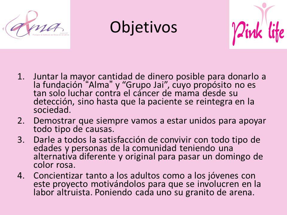 Objetivos 1.Juntar la mayor cantidad de dinero posible para donarlo a la fundación Alma y Grupo Jai, cuyo propósito no es tan solo luchar contra el cáncer de mama desde su detección, sino hasta que la paciente se reintegra en la sociedad.