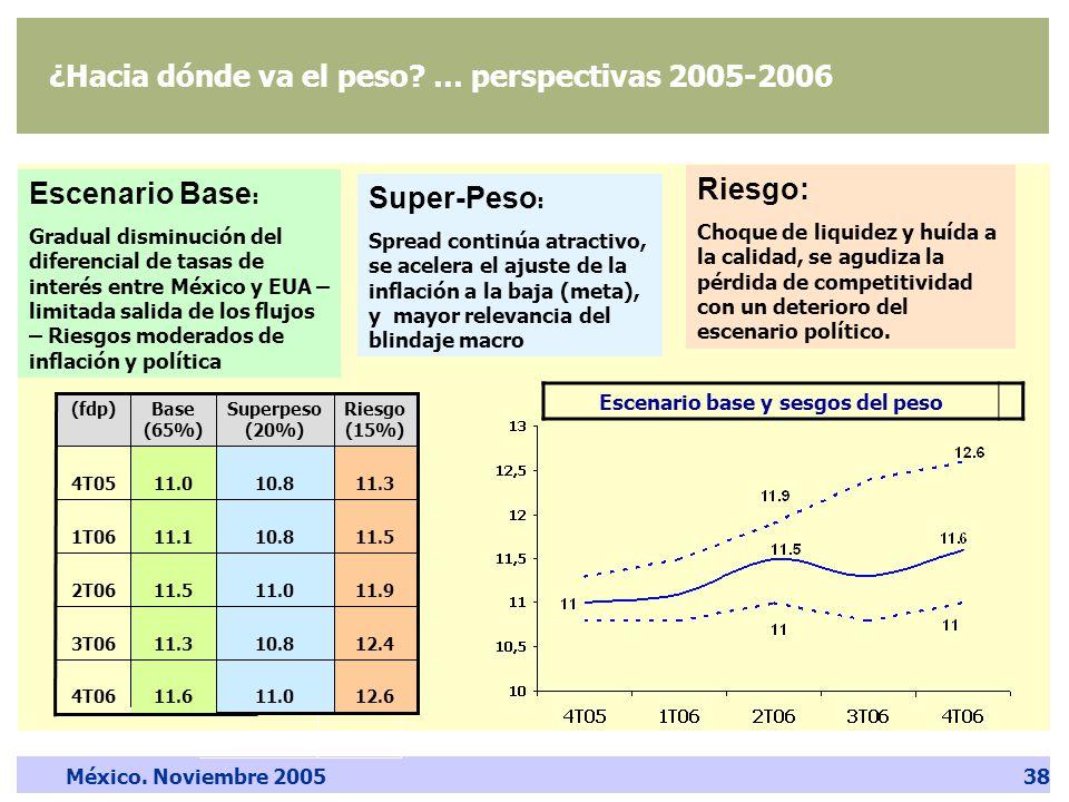 México. Noviembre 200538 ¿Hacia dónde va el peso.