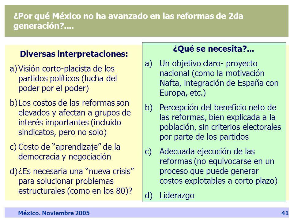 México. Noviembre 200541 ¿Por qué México no ha avanzado en las reformas de 2da generación ....