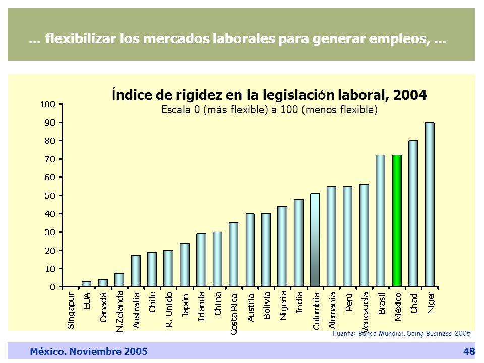 México. Noviembre 200548... flexibilizar los mercados laborales para generar empleos,...