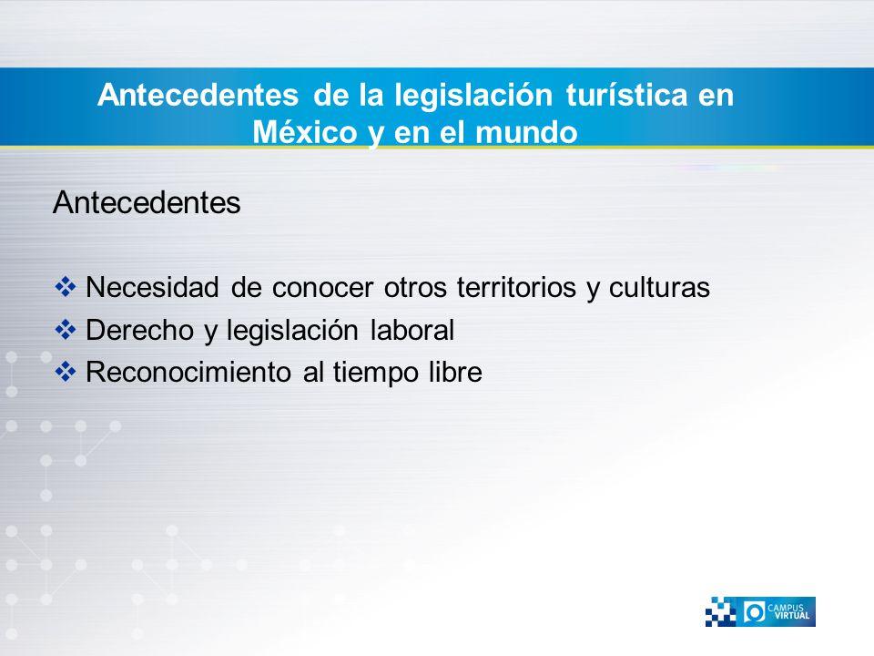 Antecedentes Necesidad de conocer otros territorios y culturas Derecho y legislación laboral Reconocimiento al tiempo libre